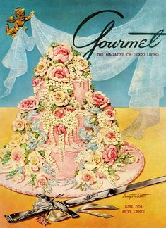Pink Wedding Cakes A Pink Wedding Cake And Ceremonial Silver Cutting by Henry Stahlhut - A Pink Wedding Cake And Ceremonial Silver Cutting by Henry Stahlhut Wedding Cake Prices, Purple Wedding Cakes, Wedding Cupcakes, Gold Wedding, Cake Illustration, Food Illustrations, Retro Recipes, Vintage Recipes, Journal Vintage