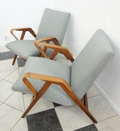 Pair of Tatra Nabytok NP arm chairs, Wooden Armchair, Wooden Sofa, Wooden Chairs, Mcm Furniture, Furniture Ideas, Modern Style Homes, Chair Bench, Mid Century Decor, Loft Style