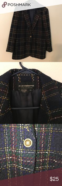 Liz Claiborne tweed jacket Beautiful Liz Claiborne tweed jacket. Perfect for Fall with gold , navy and burgundy woven through out the jacket. Liz Claiborne Jackets & Coats Blazers
