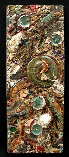 Just then… – Kath Jones 36″ x 20″ Pottery, glass, pearls, turquoise, amethyst, purple and blue fluorite, green calcite, citrine clusters, howlite and various other semi-prec…