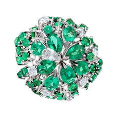 Stefan Hafner Emeralds and Diamond Cocktail Ring.