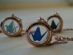 Bridesmaid gift-wholesale price set of 5-Glass locket necklace-rose gold-steel necklace-origami themed wedding-travel themed wedding