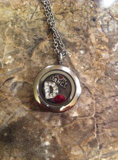 Silver Mini South Hill Designs Locket with Crystal Letter D charm, January Birthstone and I <3 to Dance charm, get the look at http://southhilldesigns.com/andreabrindley