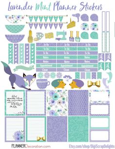 Lavender Mint Printable Planner Stickers by DigiScrapDelights
