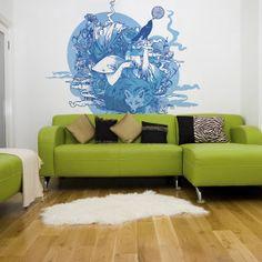 Conceptions lumineuses du salon avec des motifs papier peint bleu et vert ~ Décoration Salon / Décor de Salon