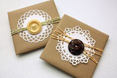 doilies, twine, buttons and kraft paper