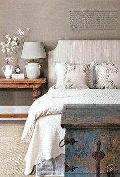 Bedroom by Barbara Westbrook. Love the antique blue trunk & antique table for the nightstand. Beautifully Designed!
