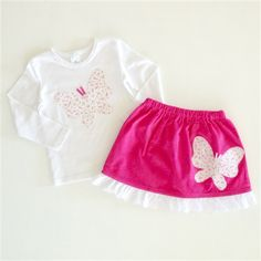 Girls' Pink Corduroy Skirt with Lace Trim and Butterfly Applique Set - Size 2