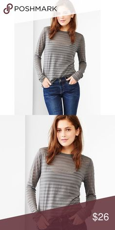 ❤ | HP | burnout stripe tee | Just a little peek-a-boo to keep it clean & classy. The deets: nwt | gray stripe burnout tee | size xs | crew neck | long sleeves | soft knit w. contrast semi-sheer stripes | 54% polyester • 46% cotton | slightly loose fit w. some stretch | contact for questions | trades/pp/drama GAP Tops