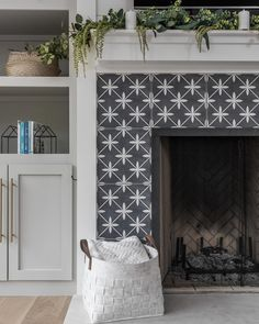Forget sweater weather—it's fireplace weather! If you're one of the lucky ones that have a fireplace in your home, we're about to give you major design Tile Around Fireplace, Fireplace Tile Surround, Small Fireplace, White Fireplace, Cozy Fireplace, Fireplace Surrounds, Fireplace Design, Fireplace Ideas, Tiled Fireplace