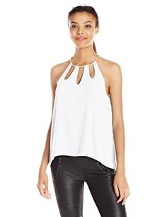 BCBGMAXAZRIA Women's Adel Keyhole Tank Top, White, X-Small >>> To view further for this item, visit the image link.
