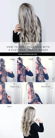 how to curl your hair with a flat iron! Make big curls or beach waves! Check out this super easy hairstyle by curling with your straightener! (loose waves hair how to do) Curling Hair With Flat Iron, Curl Hair With Straightener, Flat Iron Curls, How To Curl Hair With Flat Iron, Beach Waves With Flat Iron, Flat Iron Waves, Hairstyles With Straightner, Easy Hair Curling, Hair Straightener Waves