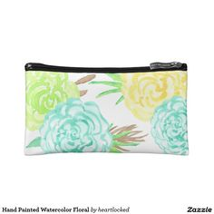 Hand Painted Watercolor Floral Makeup Bag