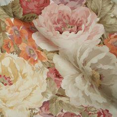 tło - złamana biel<br> kwiaty - blady róż, pomarańcz, piaskowy beż, popiel, blada czerwień <br>liście - wyblakła zgniła zieleń