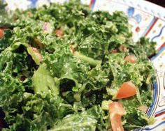 The Present Moment Cafe Kale Salad With Avocado for Two Kale Avocado Salad, Kale Salad Recipes, Ripe Avocado, Primal Recipes, Vegetarian Recipes, Healthy Recipes, Vegan Meals, Rabbit Food, My Favorite Food