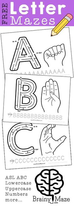 Alphabet Mazes!  Free letter mazes for the uppercase alphabet.  Featuring American Sign Language handsigns as well as handwrting practice. Perfect for Letter of the Week Notebooks: http://brainymaze.com/for-teachers/ASL-ALphabet-Mazes/