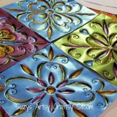 Created from disposable cookie sheets. Faux Tin Tiles, love this idea as way to make a tin ceiling without having to pay an arm and a leg. I'd use flashing instead of cookie sheets