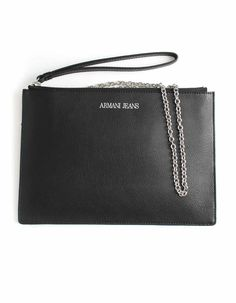 Armani Jeans Leather Clutch Bag Black   Accent Clothing