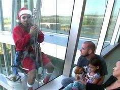 Child Life holiday window washers. Tears of happiness