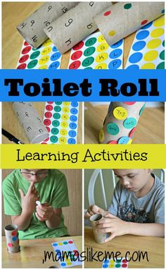 Math facts: Write numbers on the toilet paper roll, and write math facts (addition, subtraction, multiplication, etc.) on dot stickers. Have your child match the dot sticker problem to the corresponding answer on the toilet paper roll.