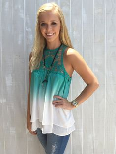 Sweet Summer Sunshine Top - White/Turq from Chocolate Shoe Boutique