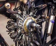 Bicycle Engine Kit, Motorcycle Engine, Aeroplane Engine, Cool Motorcycles, Hare, Peugeot, Engineering, Creative, Wheels