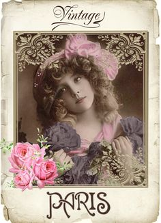 Vintage girl Grete digital collage p1022 free to use