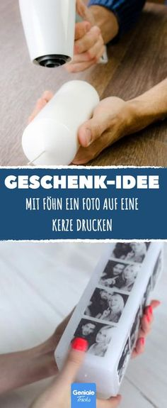 Idea de regalo: use un secador de pelo para imprimir una foto en una vela - Foto vela casera – DIY como regalo # manualidades La mejor imagen s - Homemade Candles, Diy Candles, Scented Candles, Diy Christmas Presents, Christmas Diy, Christmas Present Parents, Mom Presents, Craft Gifts, Diy Gifts
