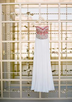 Long red and white embellished prom dress