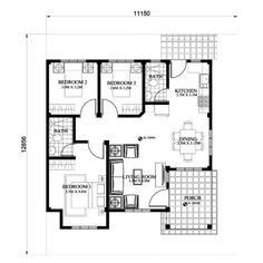is a 3 bedroom 2 toilet and bath small efficient house plan with porch and also a single attached house. Good living is experienced in this house plan with a total floor area of 93 sq. House Floor Design, Home Design Floor Plans, Simple House Design, Modern House Design, Porch House Plans, House Layout Plans, Small House Plans, Bungalow Haus Design, Modern Bungalow House
