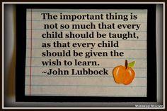 Back to school, quote, John Lubbuck, apples
