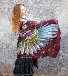 Wings scarf, Crimson bohemian bird feathers shawl, hand painted, digital print, wrap sarong, perfect gifts.
