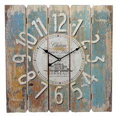 Relógio de Parede Quadrado Rústico - 58x58 cm Compre aqui: www.carrodemola.com.br/produtos/20153/relogio-parede-quadrado-rustico-58x58-cm