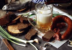 Russian beer and sausage. PHOTOGRAPH BY DARIA KHOROSHAVINA AND OLYA KOLESNIKOVA