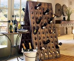 Vintage French Riddling Rack from Napa Style. Built In Wine Rack, Wood Wine Racks, Riddling Rack, Wine Rack Plans, Napa Style, Pallet Wine, Regal Design, Wine Bottle Holders, Wine Bottles