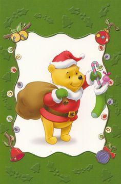 Santa Pooh Bear Christmas card  from a box of Hallmark cards...  Flickr - Photo Sharing!