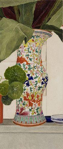 Cressida Campbell - Nonya vase with ginger leaves, watercolour paint on stonehenge paper, 2009 Contemporary Australian Artists, Contemporary Art, Watercolour Painting, Painting & Drawing, Watercolors, Unique Art, Painting Inspiration, Flower Art, Illustration Art
