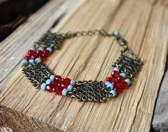Bracelet bohème chic hippie perles en verre rouge turquoise : Bracelet par les-3-oranges