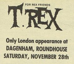 A Marc In Time...November 28th 1970 Trade advert for Dagenham Roundhouse concert