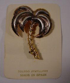 NOS   Vintage Figural  PALM TREE Brooch Pin Damascene Spain #spain