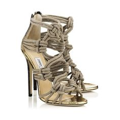 Black and Gold Degrade Elaphe and Rope Strappy Sandals | Kalmar |... ($1,115) ❤ liked on Polyvore featuring shoes, sandals, jimmy choo, heels, strappy sandals, black and gold shoes, summer footwear, summer shoes and strap heel sandals
