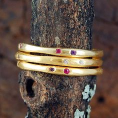 Gemstone Fine Gold Stacking Ring from notonthehighstreet.com