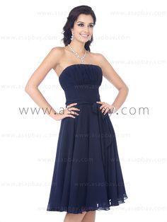 blue knee lenght bridesmaid dresses   Chiffon strapless knee length A line dark blue bridesmaid dress C11475 ...