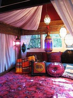 bright colors . moroccan decor. nice idea for a guest cabin, truly escapist