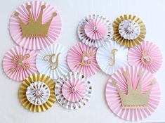 Paper Rosettes, Paper Fans, Paper Pinwheels, Princess Party Decorations, Princess Party, Crown Decorations, Pink and Gold Decorations, Baby Shower Backdrops