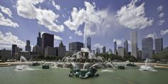 Buckingham Fountain is considered Chicago's front door. The fountain represents Lake Michigan, surrounded by four sea horses representing Illinois, Indiana, Wisconsin and Michigan. It has a Beaux-Artsstyle and was modeled after Latona Fountain at the Palace of Versailles in France.