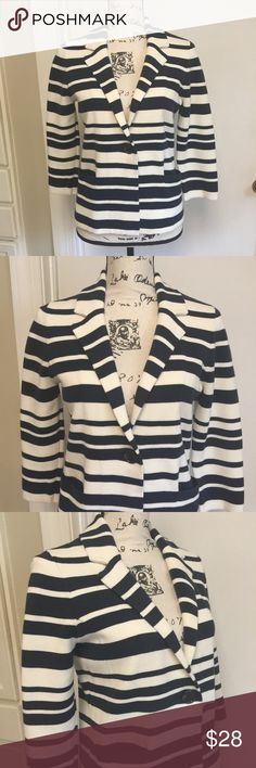 "Ann Taylor Button front Blazer Button front Blazer Jacket Striped with 2 front pockets 3/4 sleeves ❣️ Pit to pit - 18""  Length from shoulder to hem - 22"" ❣️ 100% Cotton ❣️ Navy Blue & White Stripes ❣️❣️ Ann Taylor Jackets & Coats Blazers"