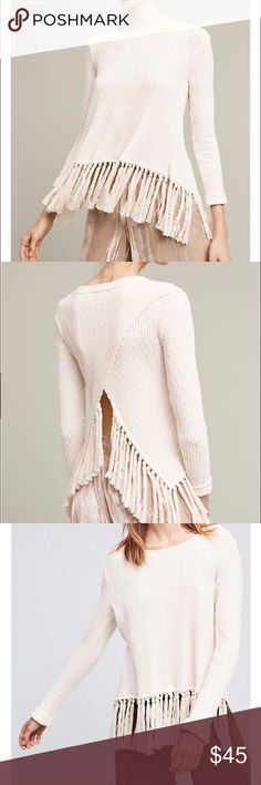 Anthropologie tasseled sweater NWT Anthropologie cream tasseled pullover sweater. Open back. Size small petite Anthropologie Sweaters Crew & Scoop Necks