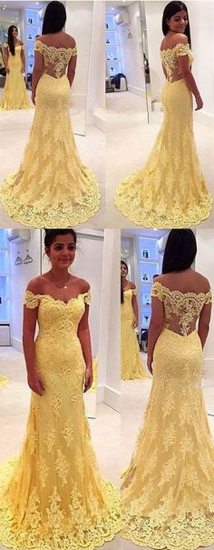 2017 prom dresses,yellow long prom dresses,mermaid prom dresses,lace prom dresses,sexy off shoulder prom party dresses,lace evening gowns,mermaid evening dresses,fashion,chic women's fashion