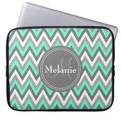 Monogrammed Blue & Grey Chevron Pattern Laptop Computer Sleeve #laptop #sleeves